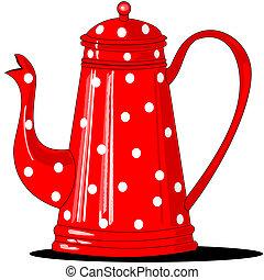 edény, kávécserje, polka-dotted, piros