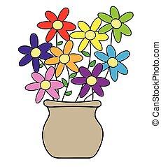 edény, virág, színes