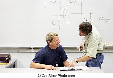 ed , δασκάλα , ενήλικος , - , σχέση , σπουδαστής