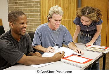 ed, -, diversidade, estudante adulto