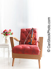 ed leather wood arm chair with viol