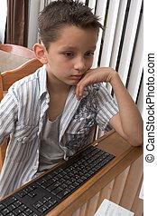 edad elemental, (8, years), niño, juegos, juego de...