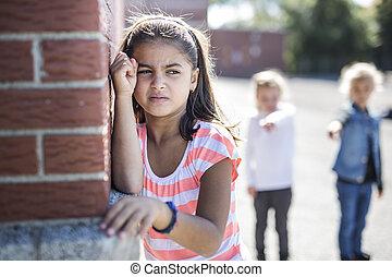 edad elemental, intimidar, en, schoolyard