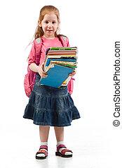 edad elemental, niña, enfatizado, por, educativo, libros