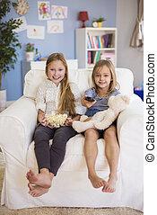 edad elemental, niñas, esperar, para, su, favorito, programa...