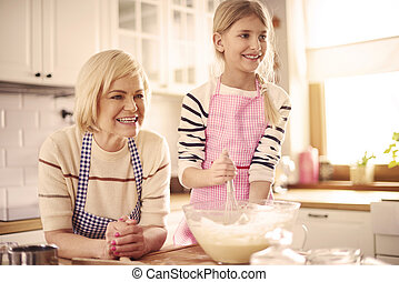 edad elemental, niño, elaboración, el, pastel