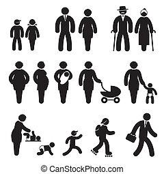 edad, gente, iconos