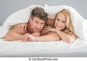 edad media, dulce, amantes, blanco, cama
