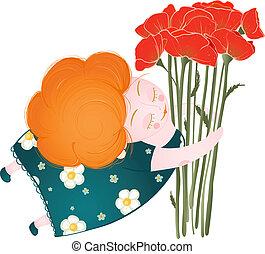 edad media, mujer, flores, feliz