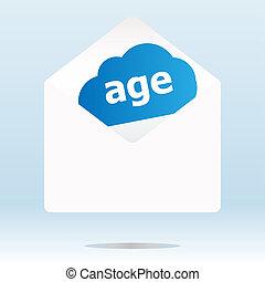 edad, palabra, azul, nube, blanco, envíe
