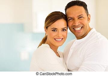 edad, pareja hugging, medio