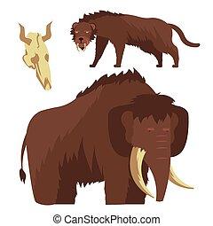 edad piedra, animals., mamut, y, saber-toothed, tigre, vector, ilustración
