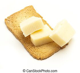 edam cheese on bread on a white background