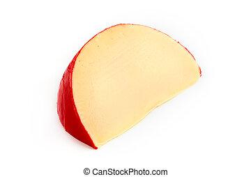 Edam cheese slice over white - Edam cheese slice isolated on...