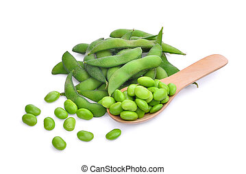 edamame beans in wooden spoon isolated on white background