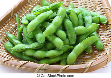 edamame, boiled green soy beans - japanese food