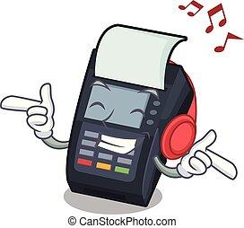 edc, máquina, forma, escutar música, caricatura
