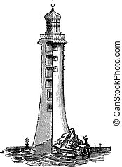 Eddystone Lighthouse, in England, United Kingdom, vintage engraved illustration.