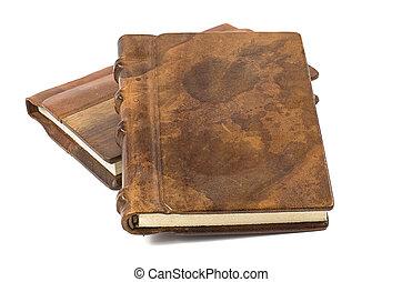 edel, leder, dekking, houten, boek, kostbaar