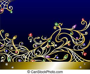 edelsteenen, jewerly, goud, vector, achtergrond, horizontaal