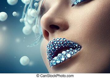 edelsteine, aufmachung, girl., lippen, feiertag, weihnachten
