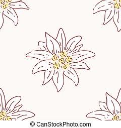 edelweiss flower seamless pattern, tile symbol alpinism alps germany logo