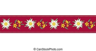 edelweiss, modèle, seamless, main, dessiné, ruban
