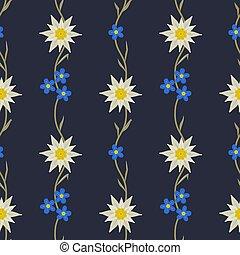 edelweiss, modèle, seamless, main, floral, dessiné