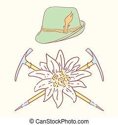 edelweiss tyrolean hat alpenstock flower symbol alpinism...