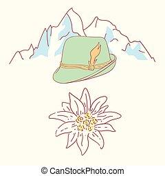 edelweiss tyrolean hat flower symbol alpinism alps germany...