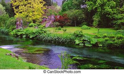 eden garden brook gushing on river stream water in autumn .