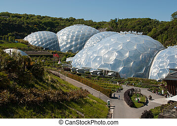 Eden Project Biomes and Landscapes - wider shot of several...