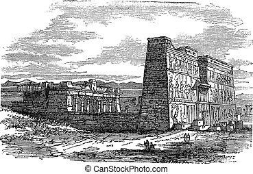 Edfu in Aswan, Egypt, vintage engraving