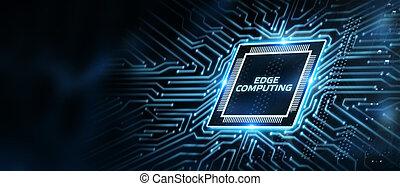 Edge computing modern IT technology on virtual screen. ...