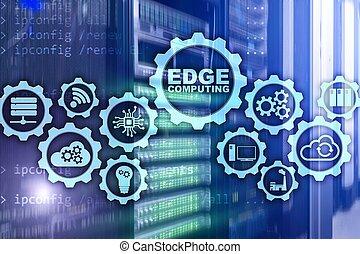 ?EDGE COMPUTING on modern server room background. ...