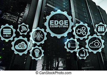 EDGE COMPUTING on modern server room background. Information...