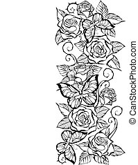 edge of contour of roses and butterflies - Border of the ...