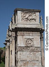 Edge of Roman Arch Under Blue Sky