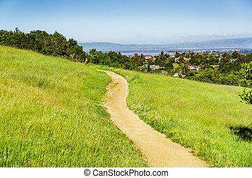 edgewood, zona, francisco, città redwood, traccia, segno, scia, baia, parco contea, california, san, colline