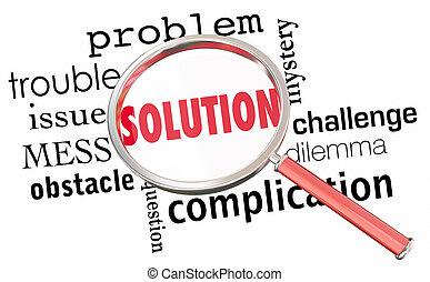 edição, dificuldade, solução, ilustração, achar, vidro, resolva, problema, resolução, magnificar, 3d