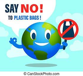 edições, ambiental, caricatura, não, sinal., plástico, bag., terra, saco, dizer, sorrindo, conceito, illustration.