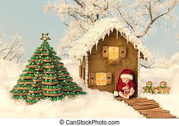 Edible Christmas gingerbread house and baby