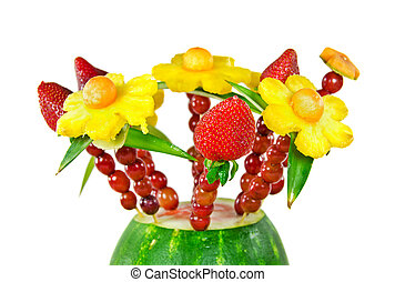 edible fruit bouquet in watermelon - Fresh pineapple,...