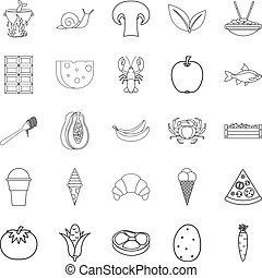 Edible icons set, outline style