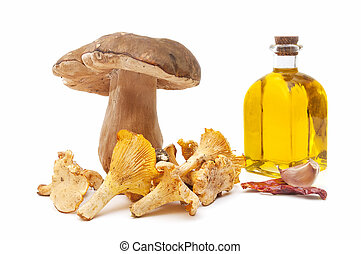 edible mushrooms and olive oil