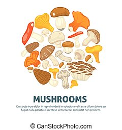 Edible mushrooms flat vector poster of forest champignon,...