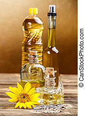 Edible oils - Various types of edible oils in bottles