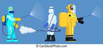 edical, 平ら, 化学物質, スタイル, coronavirus, 殺菌しなさい, スーツ, measures...