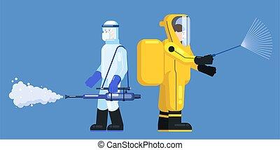 edical, covid-19, 化学物質, スーツ, 殺菌しなさい, スタイル, 清掃, イラスト, 保護, ...