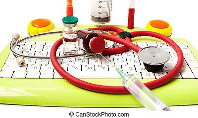 ?edicine, phonendoscope, bottle, the keyboard, ball pens syring